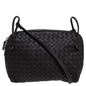 Bottega Veneta Dark Brown Intrecciato Leather Nodini Crossbody Bag