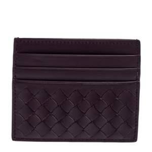 Bottega Veneta Burgundy Intrecciato Leather Card Holder