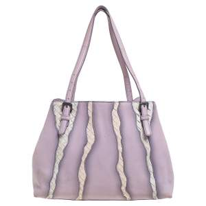 Bottega Veneta Lilac And Intrecciato Leather Monalisa Tote