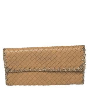 Bottega Veneta Beige Intrecciato Leather and Snakeskin Continental Wallet