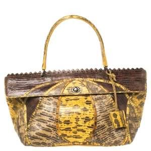 Bottega Veneta Yellow/Brown Tejus Lizard Prezioso Top Handle Bag