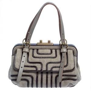 Bottega Veneta Grey/Brown Woven Fabric And Braided Patent Frame Satchel