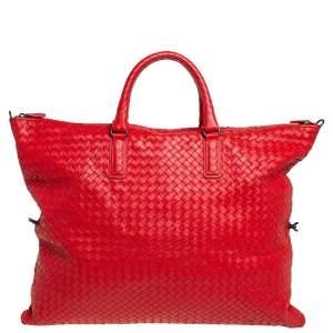 Bottega Veneta Crimson Red Intrecciato Nappa Leather Maxi Convertible Tote