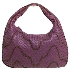 Bottega Veneta Mulberry Intrecciato Leather Medium Chain Embellished Veneta Hobo