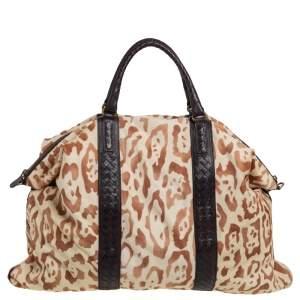 Bottega Veneta Cream/Brown Intrecciato Leather and Leopard Print Calfhair Maxi Convertible Tote