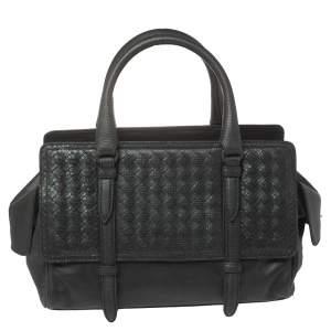 Bottega Veneta Black Intrecciato Snake Skin and Leather Monaco Satchel