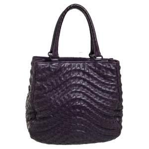 Bottega Veneta Purple Intrecciato Leather Large Maggiore Tote
