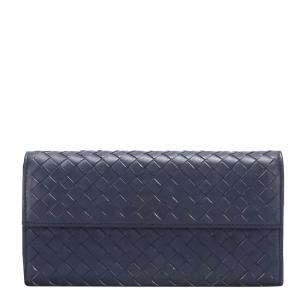 Bottega Veneta Blue Intrecciato Leather Flap Wallet