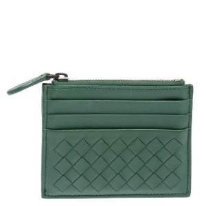 Bottega Veneta Green Intrecciato Leather Zip Card Holder
