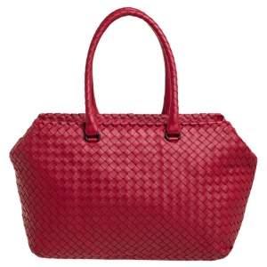 Bottega Veneta Red Intrecciatoo Leather Brick Satchel