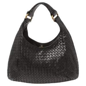 Bottega Veneta Black Intrecciato Leather New Ball Hobo