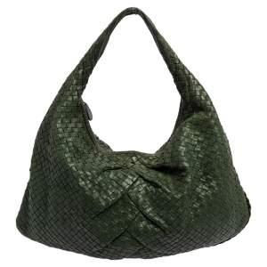 Bottega Veneta Green Intrecciato Leather Large Veneta Hobo