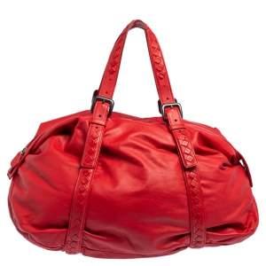 Bottega Veneta Red Leather Satchel
