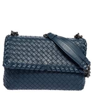 حقيبة كتف بوتيغا فينيتا أوليمبيا جلد إنترشياتو أزرق