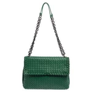 Bottega Veneta Green Intrecciato Leather Olimpia Shoulder Bag