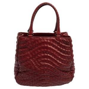 Bottega Veneta Red Intrecciato Leather Large Maggiore Tote