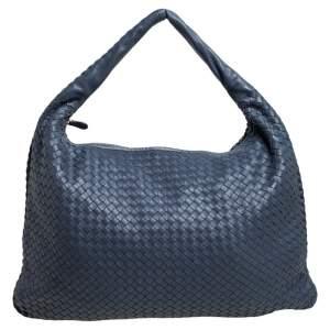Bottega Veneta Blue Intrecciato Leather Maxi Veneta Hobo