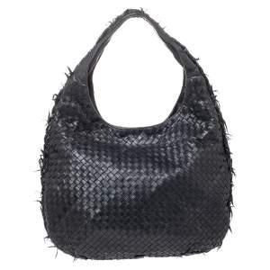 Bottega Veneta Black Intrecciato Leather Veneta Fringe Large Hobo