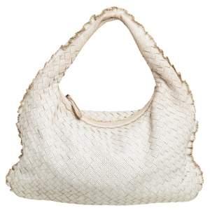 حقيبة هوبو بوتيغا فينيتا جلد إنترشياتو أبيض مثقب فينيتا صغيرة
