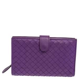 Bottega Veneta Purple Intrecciato Leather French Wallet