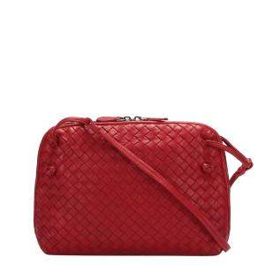Bottega Veneta Red Intrecciato Leather Nodini Crossbody Bag