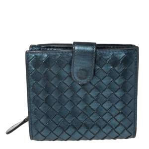 Bottega Veneta Metallic Blue Intrecciato Leather Compact Wallet