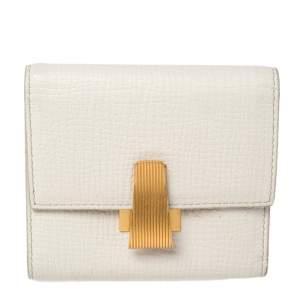 Bottega Veneta White Leather Trifold Wallet