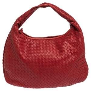 Bottega Veneta Red Leather Small Veneta Hobo