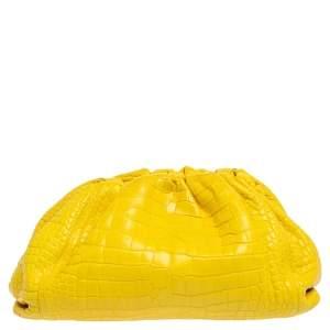 Bottega Veneta Neon Gold Crocodile Leather The Pouch Clutch