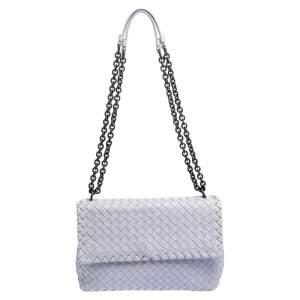 Bottega Veneta Lilac Intrecciato Leather Small Olimpia Shoulder Bag
