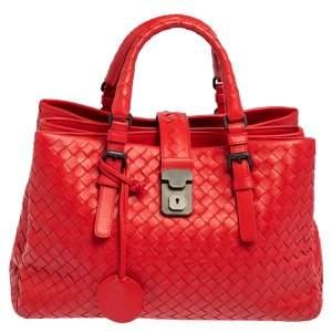 Bottega Veneta Red Leather Medium Roma Tote