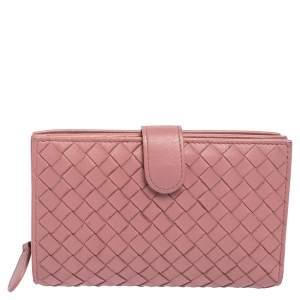 Bottega Veneta Pink Intrecciato Leather French Wallet
