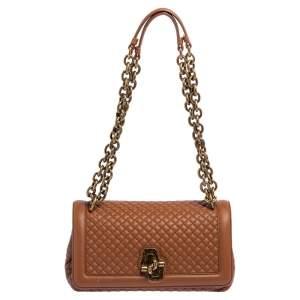Bottega Veneta Brown Quilted Leather Olimpia Knot Shoulder Bag