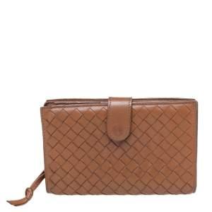 Bottega Veneta Brown Intrecciato Leather Bifold Continental Wallet