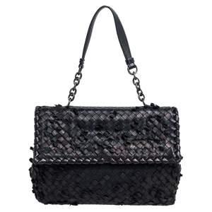 Bottega Veneta Black Intrecciato Leather Medium Olimpia Shoulder Bag