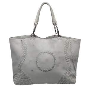Bottega Veneta Grey Intrecciato Leather Tote