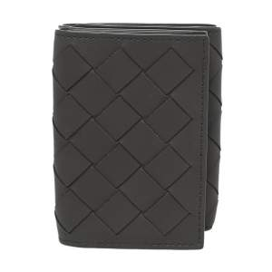 Bottega Veneta Grey Intrecciato Leather Trifold Wallet