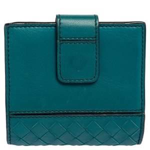 Bottega Veneta Turquoise Blue Intrecciato Leather French Wallet