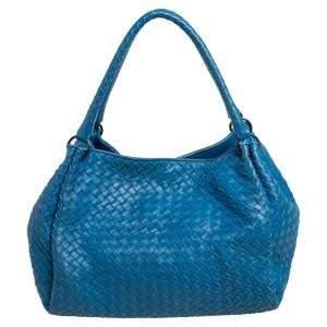 Bottega Veneta Blue Intrecciato Leather Parachute Shoulder Bag