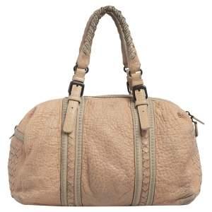 Bottega Veneta Beige Intrecciato And Leather Boston Bag