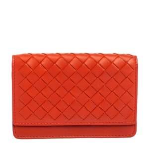 Bottega Veneta Orange Intrecciato Leather Business Card Holder