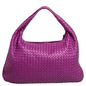 Bottega Veneta Purple Intrecciato Leather Large Veneta Hobo