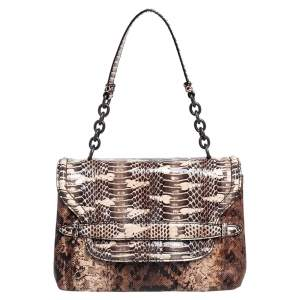 Bottega Veneta Brown Python Intrecciato Detail Flap Shoulder Bag