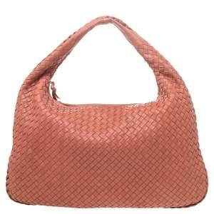 Bottega Veneta Coral Intrecciato Leather Medium Veneta Hobo