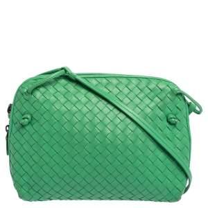 Bottega Veneta Green Intrecciato Leather Nodini Crossbody Bag