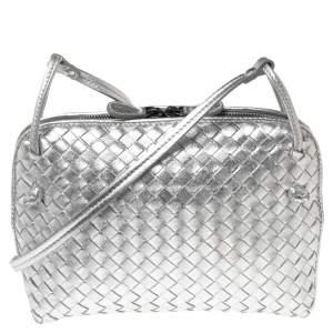 Bottega Veneta Silver Intrecciato Leather Nodini Crossbody Bag