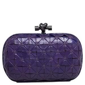Bottega Veneta Purple Leather and Snakeskin Trim Origami Knot Clutch