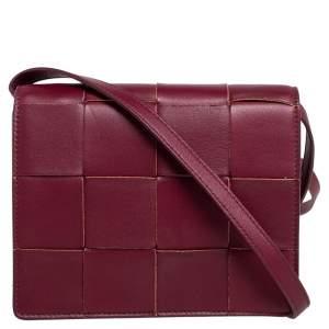 Bottega Veneta Burgundy Leather Mini Cassette Crossbody Bag