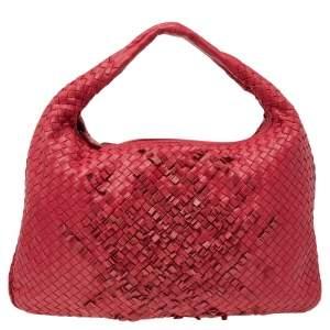 Bottega Veneta Red Intrecciato Leather Large Veneta Hobo
