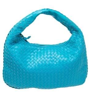 Bottega Veneta Blue Intrecciato Leather Small Veneta Hobo